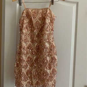 Pretty little thing sequins dress size 6 nude